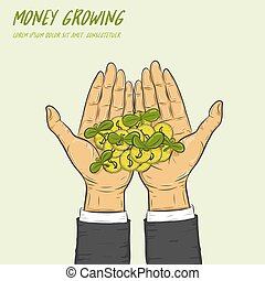 Plant growing from coins in a hand.A businessman can make money grow.