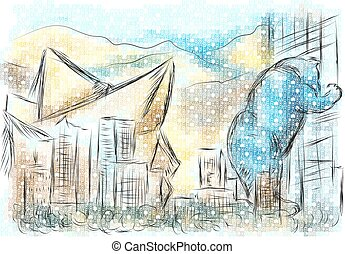 denver colorado. abstract illustration of city