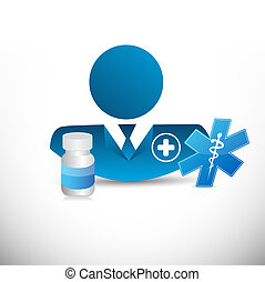 doctor, medical signs and prescription pills.