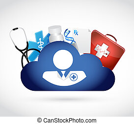 doctor and cloud computing data storage. isolated