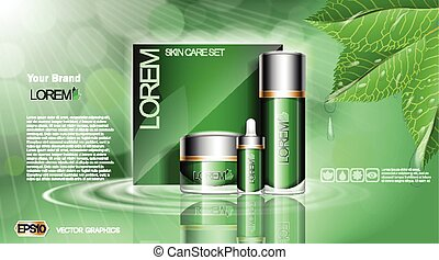 Green Cosmetic set ads template, moisturizing lotions collection cover mockup. Organic leaves with waterdrops. Dazzling effect background. Cream, spray bottle, tube. 3D Realistic Vector illustration