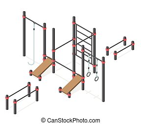 Set of street workout area elements. - Sport park...
