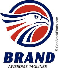 eagle heads with circle logo . creative falcon head logotype...