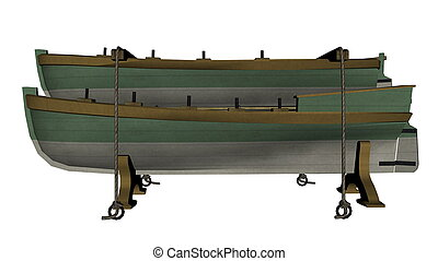 Green ancient lifeboats - 3D render - Two green ancient...