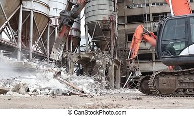 Construction site scene with excavators in action with sound...
