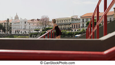 Tourist Woman Visiting Panama City Vacationing In Casco Antiguo