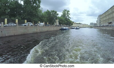 Pleasure boats in river - RUSSIA, SAINT PETERSBURG, JULY,...