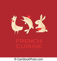french cuisine. red wine vector concept illustration