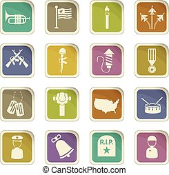 memorial day icon set - memorial day vector icons for user...