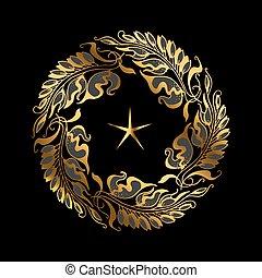 gold wreath Art Nouveau style vector illustration
