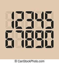 Digital Glowing Numbers Vector. Electronic Figures. LCD Numbers For A Electronic Devices.