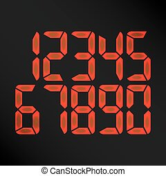 Digital Glowing Numbers Vector. Red Numbers On Black...