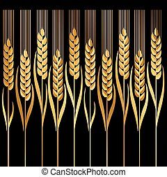 wheat vector illustration ion black background - gold wheat...