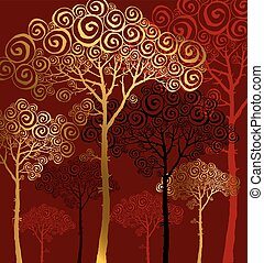 vector illustration of pine silhouette on red background