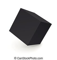 3D abstract black cube isolated on white
