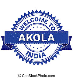 WELCOME TO City AKOLA Country INDIA. Stamp. Sticker. Grunge...