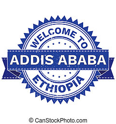 WELCOME TO City ADDIS ABABA Country ETHIOPIA. Stamp....