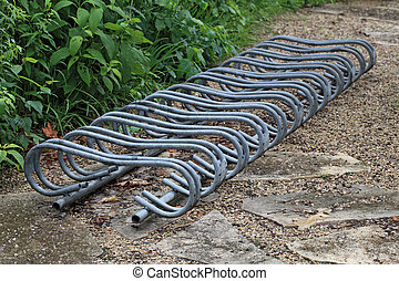 Bike Rack - Empty bicycle racks in rural area