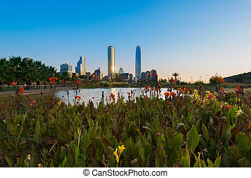 Santiago de Chile - Pond at Bicentennial Park in the wealthy...