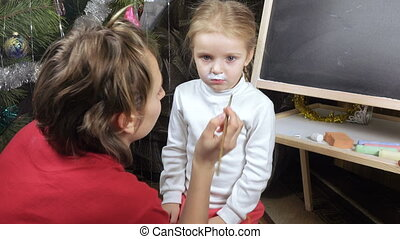 On girl painted on face