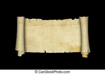 antikes, rolle, pergament