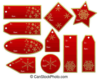 christmas gift tags - vector set of christmas gift tags