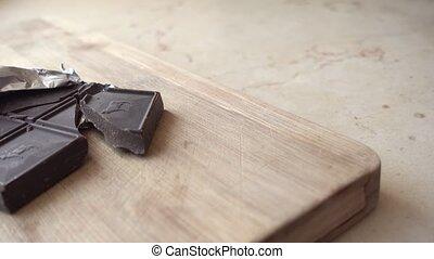 chocolate in aluminum wrap - Shot of chocolate in aluminum...