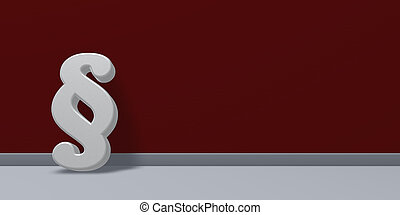 paragraph symbol on red background - 3d illustration