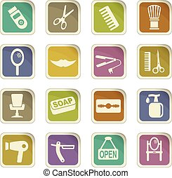 barbershop icon set - barbershop vector icons for user...