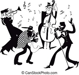 Jazz band clip-art - Black vector silhouette of a jazz band...