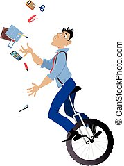 Office manager overwhelmed - Young man riding a unicycle and...