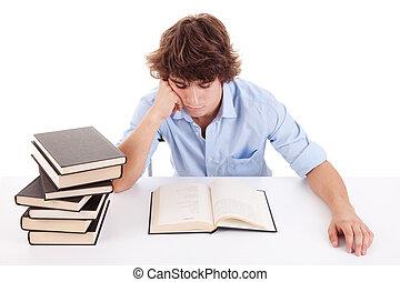 lindo, el suyo, tiro, niño, estudiar, aislado, escritorio, libro, estudio, blanco, lectura