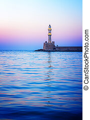 lighthouse of Chania at pink sunset, Crete Greece, retro...