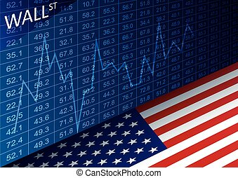 Stock exchange chart and american flag. Data analyzing in...