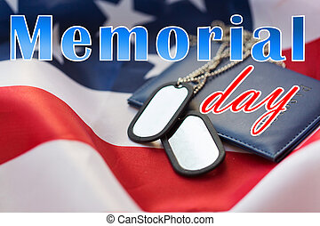 memorial day words on american flag and dog tags - military...
