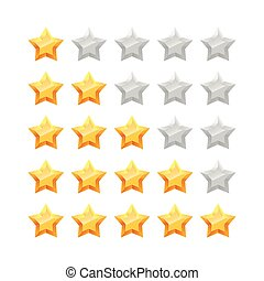 3D five stars rating icon set.