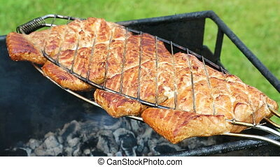 Salmon fillet on the grill . - Grilled fish with spices on...