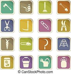 garden tools icon set - garden tools vector icons for user...