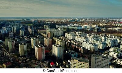 Aerial view of Warsaw residential area and distant Chopin...