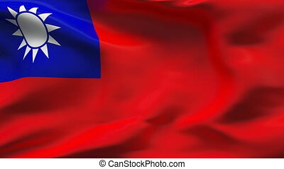 Creased taiwan flag in wind - slow - HIGHLY DETAILED FLAG...