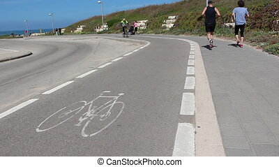 Bicycle route marked pavement - Shot of Bicycle route marked...