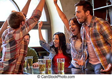 football fans or friends with beer at sport bar - sport,...