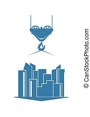 Urban construction silhouette isolated on background. Vector...