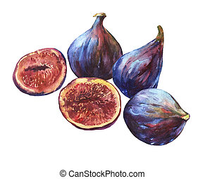 Composition whole fresh figs and figs sliced in half,...