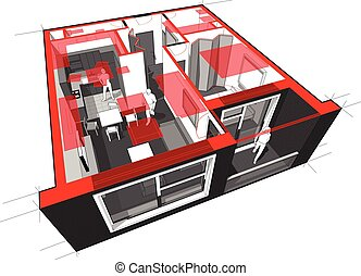 Apartment diagram - Perspective cutaway diagram of a one...