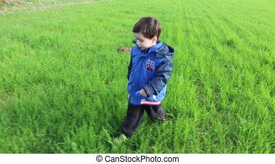 Boy walk in green field