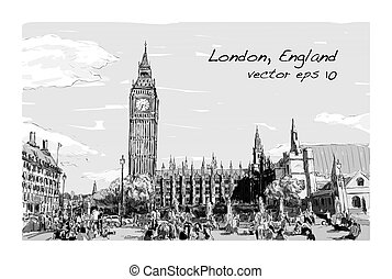 Sketch Cityscape of London The Big Ben and houses of parliament with peoples at public space, illustration