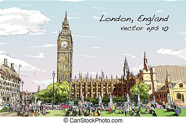 Sketch Cityscape of London The Big Ben and houses of...