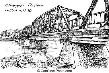 Sketch of cityscape show iron bridge in Chiangmai Thailand,...
