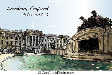 sketch cityscape of London England, show public space, monuments fountain and old building, illustration vector